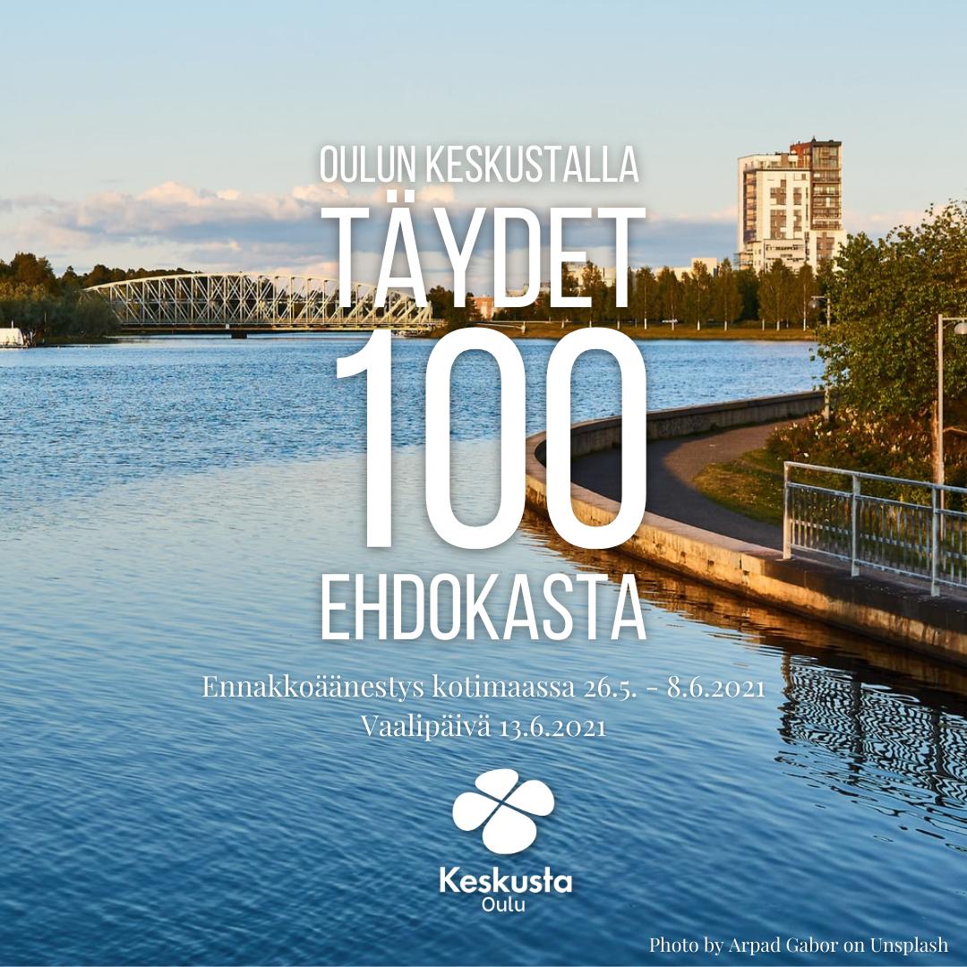 Oulun Keskustalla täysi sadan ehdokkaan lista kuntavaaleihin