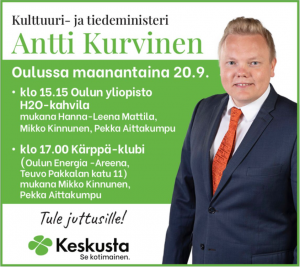 Kulttuuri- ja tiedeministeri Antti Kurvinen Kärppä-klubilla